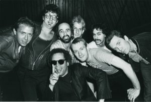 Escape Artist Session, 1981, (back) Danny, Alan, Roy, Andrew, Artie, GE (front) Garland, Steve
