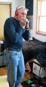 Van Hildreth on harmonica at Eco-Evolution sessions, Freedacres, 2016